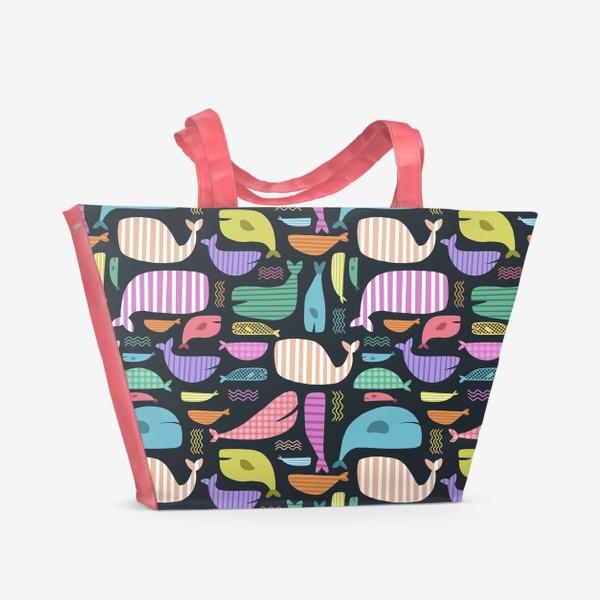 Пляжная сумка «Киты абстракция 2»