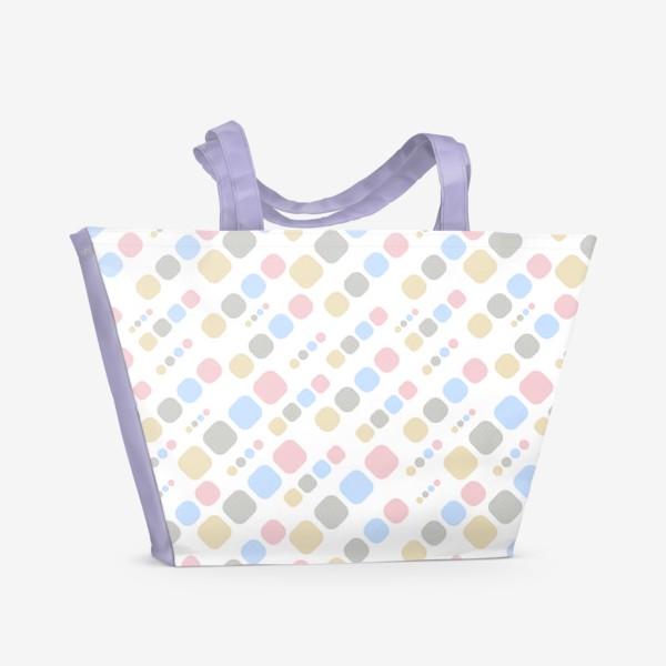 Пляжная сумка «Геометрик паттерн цветной на белом »