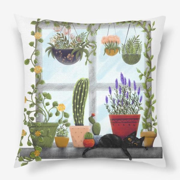 Подушка «Оранжерея на окне»