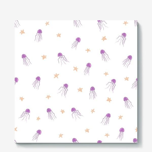Холст «Медузы и морские звезды»