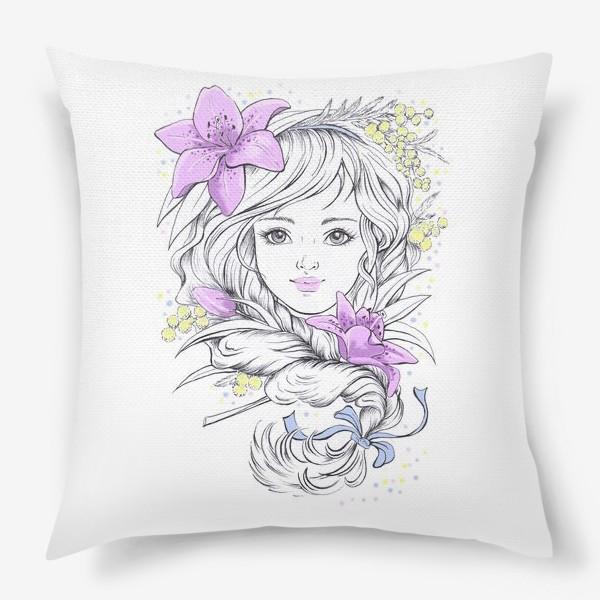 Подушка «Лилии. Графика»