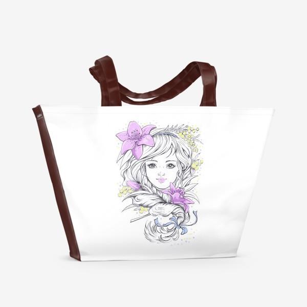 Пляжная сумка «Лилии. Графика»