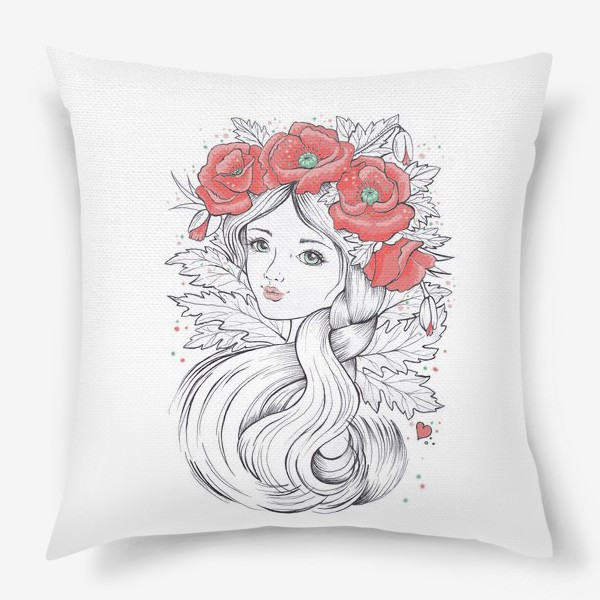 Подушка «Маки. Графика»