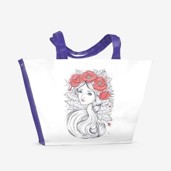 Пляжная сумка «Маки. Графика»