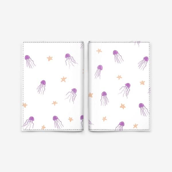 Обложка для паспорта «Медузы и морские звезды»