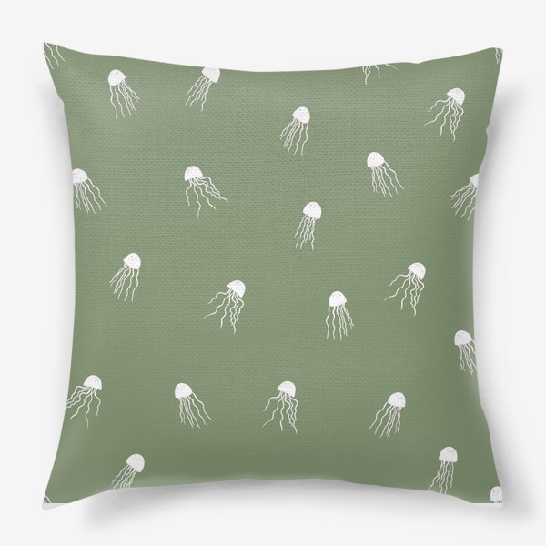 Подушка «Медузы на зеленом»