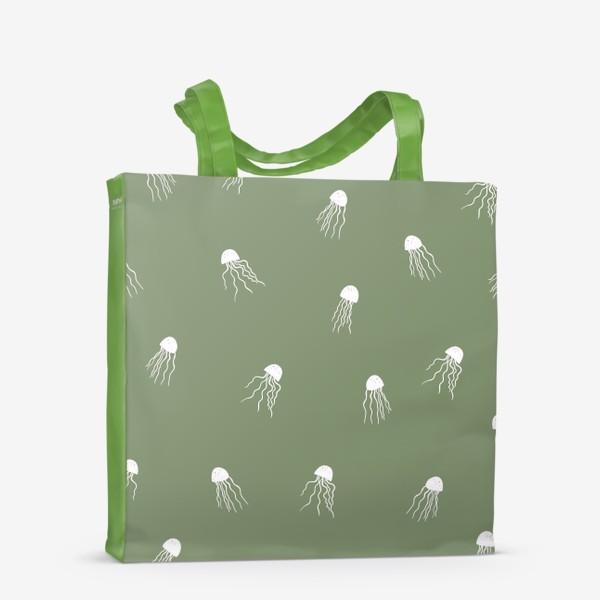 Сумка-шоппер «Медузы на зеленом»