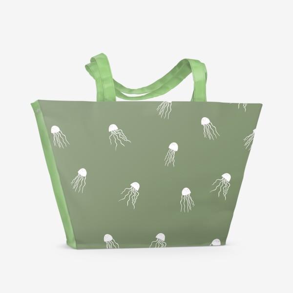 Пляжная сумка «Медузы на зеленом»