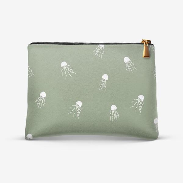 Косметичка «Медузы на зеленом»