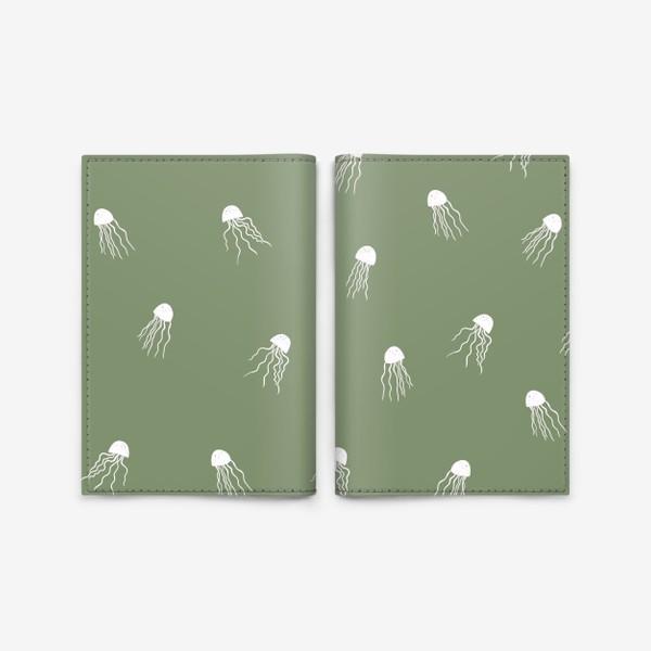 Обложка для паспорта «Медузы на зеленом»