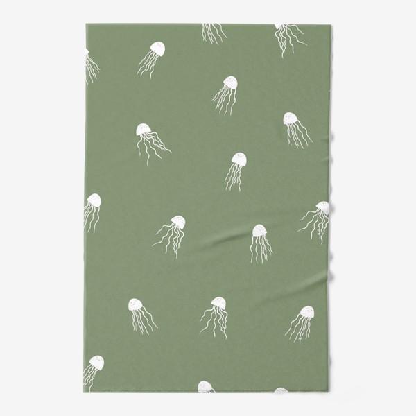 Полотенце «Медузы на зеленом»