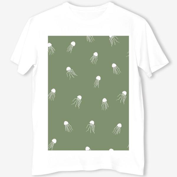 Футболка «Медузы на зеленом»