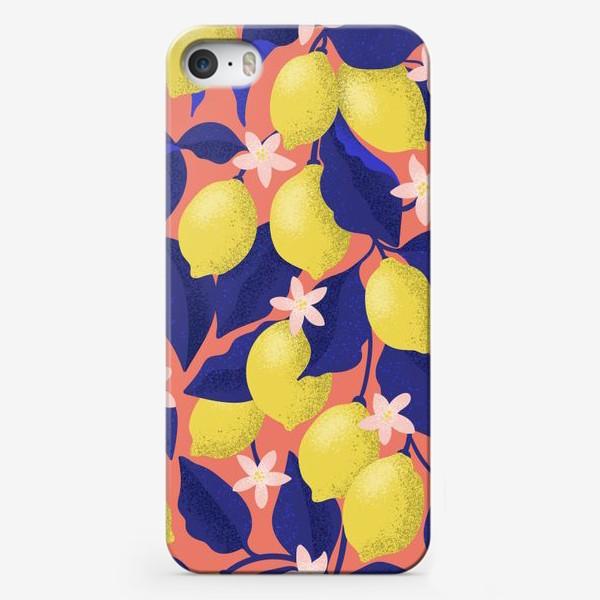 Чехол iPhone «Лимоны с синими листьями»