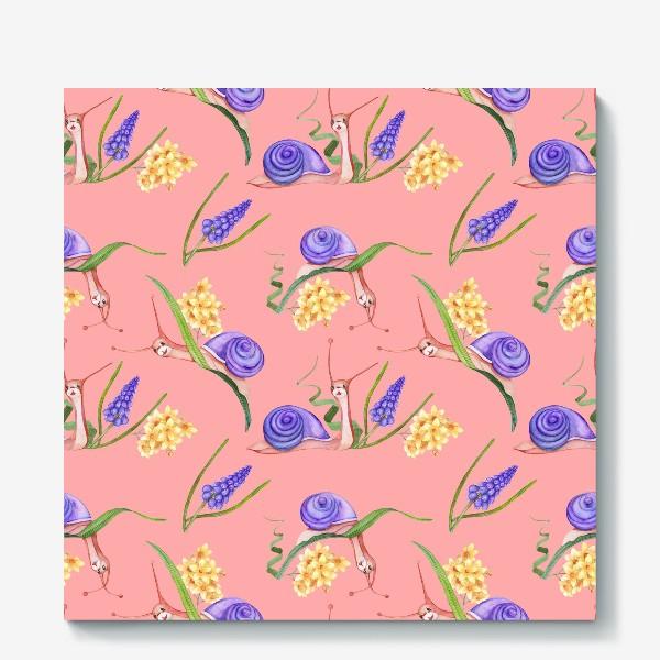 Холст «Лето, улитки, цветы. Бесшовный рисунок. нежный фон»