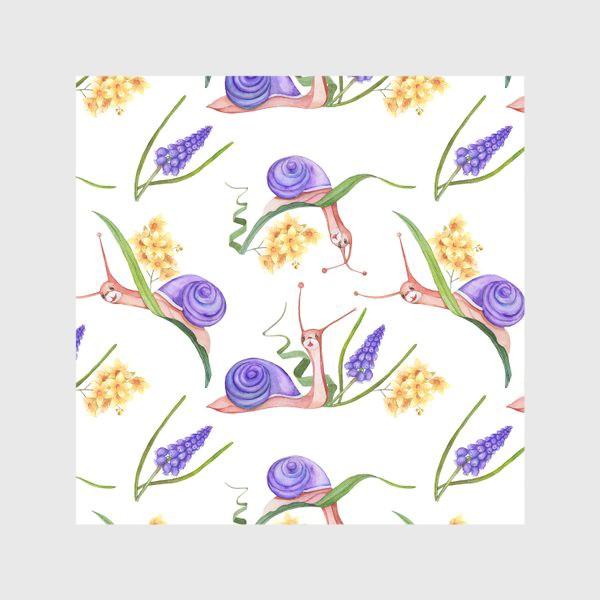 Скатерть «Лето, улитки, цветы. Бесшовный рисунок.»
