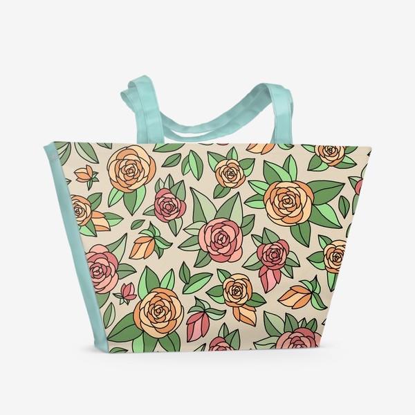 Пляжная сумка «Розы на бежевом фоне»
