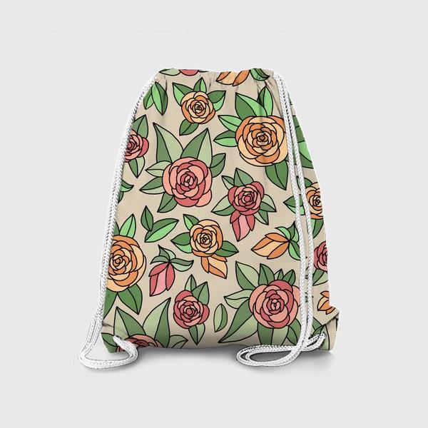 Рюкзак «Розы на бежевом фоне»