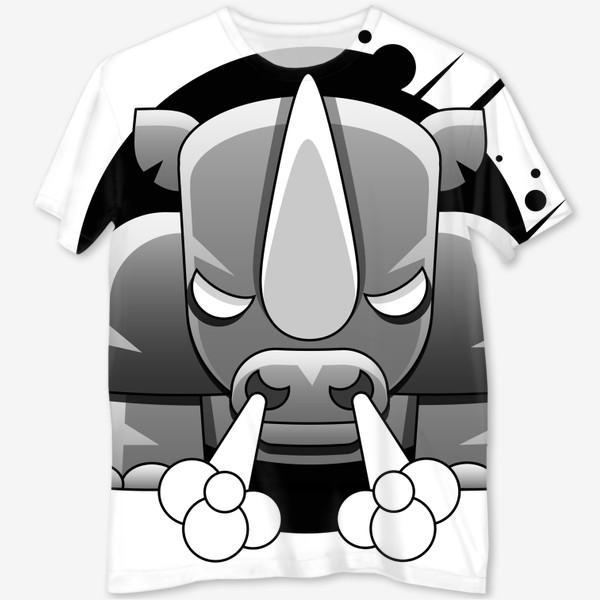 Футболка с полной запечаткой «носорог»
