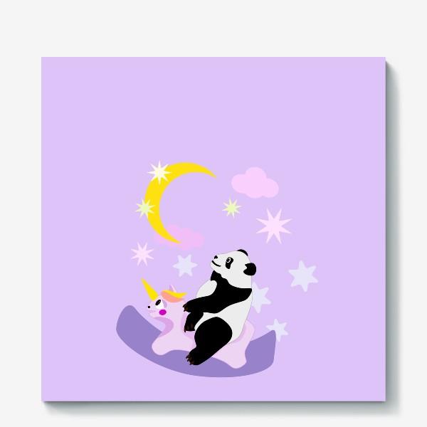 Холст «Панда на лошадке сиреневый фон»