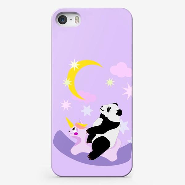 Чехол iPhone «Панда на лошадке сиреневый фон»