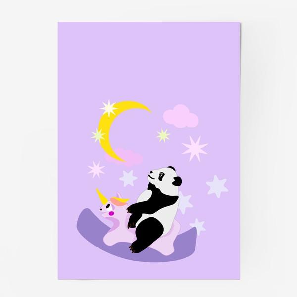 Постер «Панда на лошадке сиреневый фон»