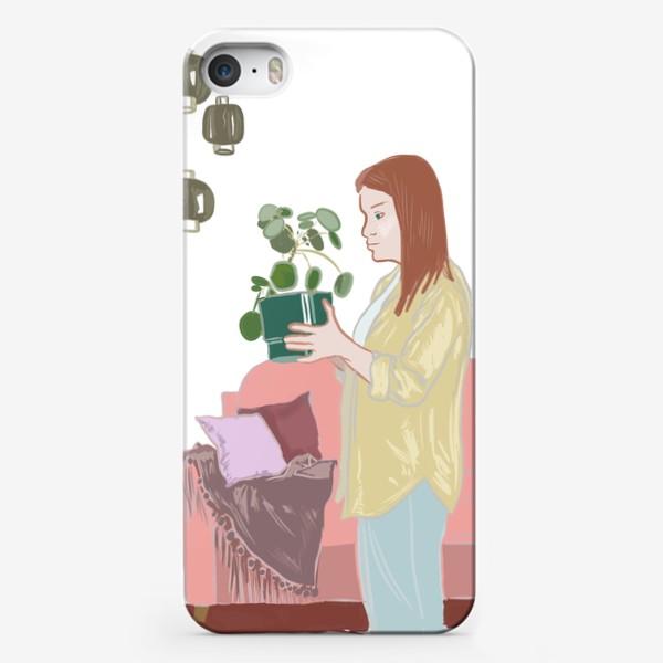 Чехол iPhone «Девушка с цветком»