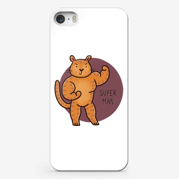 Чехол iPhone «Мужественный сильный тигр. Подарок мужчине. Superman»