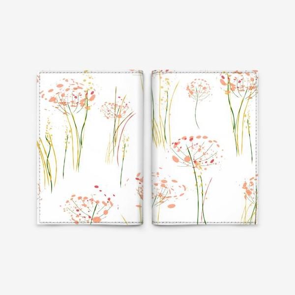 Обложка для паспорта «абстрактные цветы и травы»