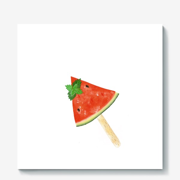 Холст «Долька арбуза на палочке с мятой»