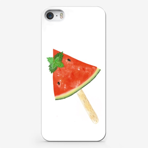 Чехол iPhone «Долька арбуза на палочке с мятой»