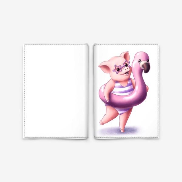 Обложка для паспорта «Свинка с фламинго»