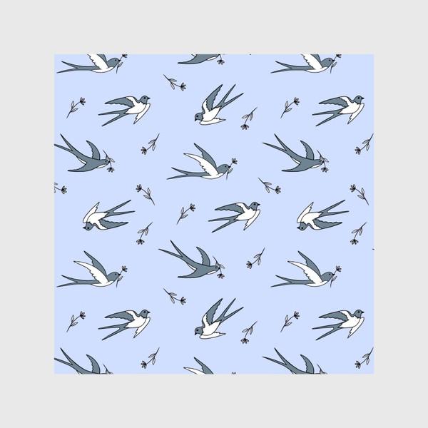 Шторы «Ласточки на голубом»
