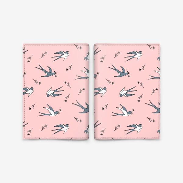 Обложка для паспорта «Ласточки на розовом»