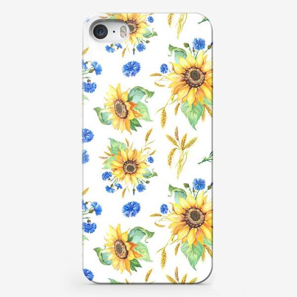 Чехол iPhone «Подсолнухи и васильки»