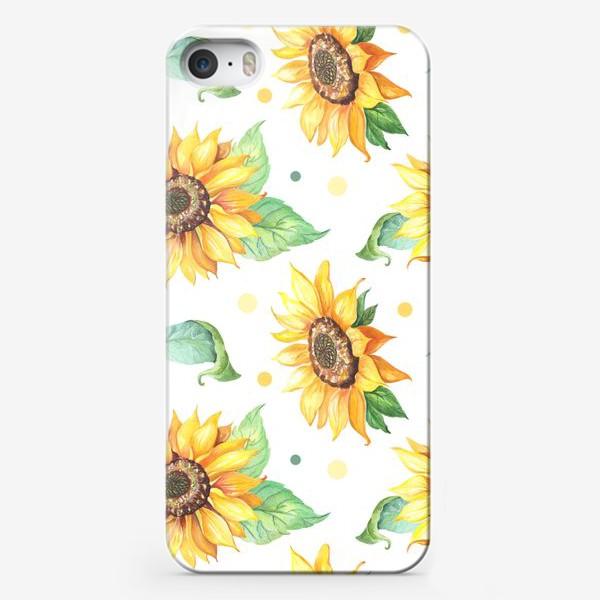 Чехол iPhone «Подсолнухи и горошек на белом»