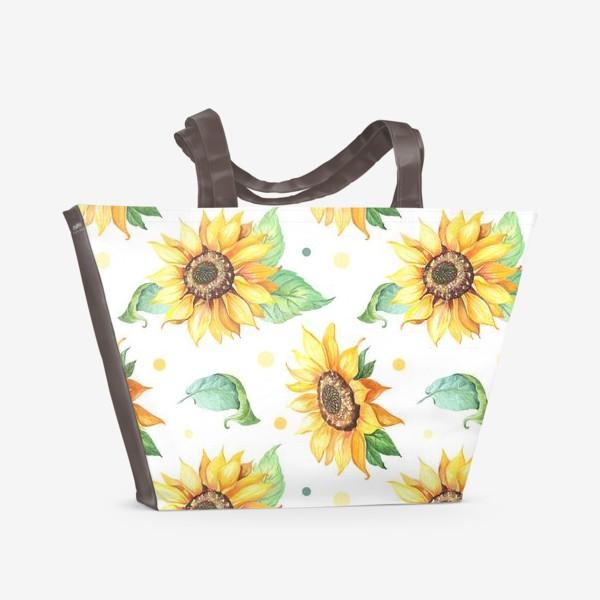 Пляжная сумка «Подсолнухи и горошек на белом»