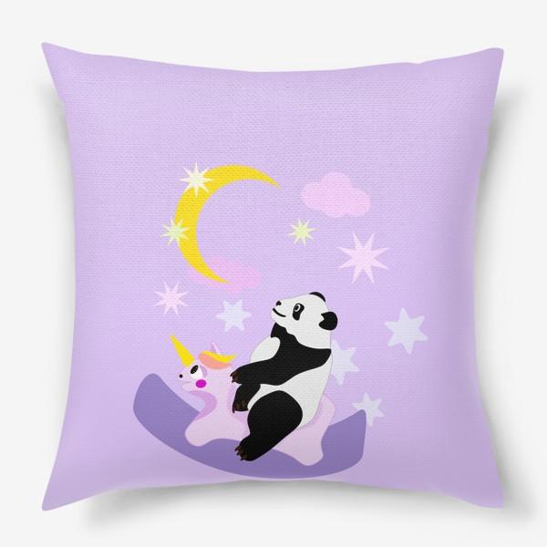 Подушка «Панда на лошадке сиреневый фон»