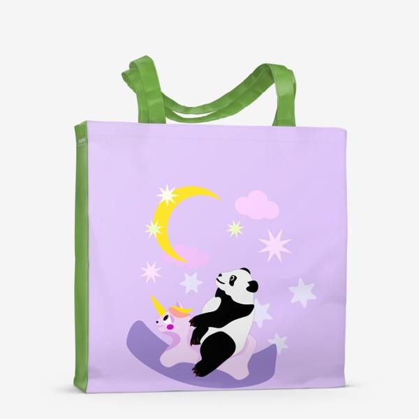 Сумка-шоппер «Панда на лошадке сиреневый фон»
