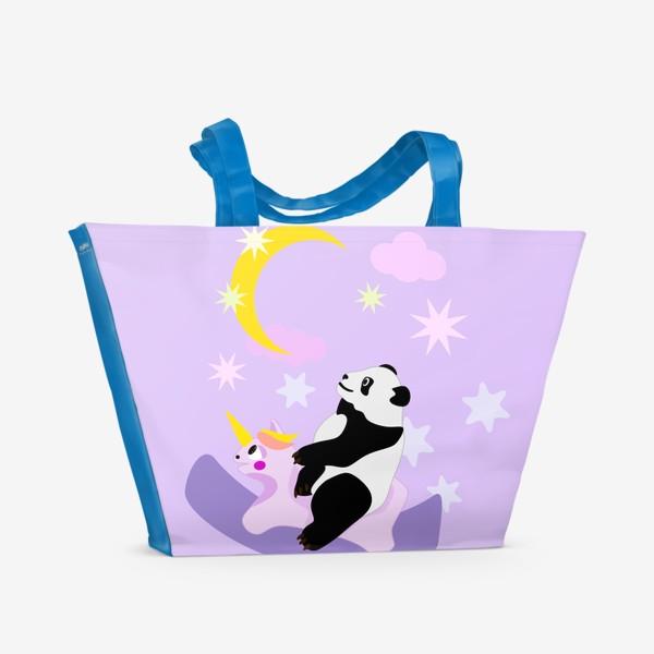 Пляжная сумка «Панда на лошадке сиреневый фон»