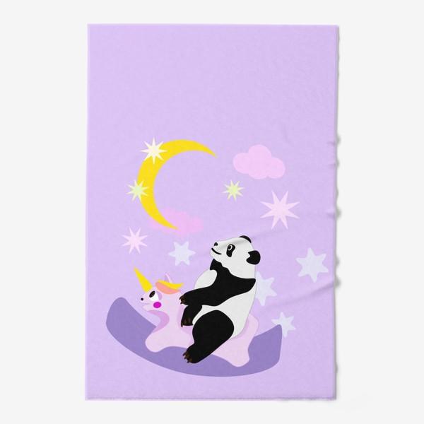 Полотенце «Панда на лошадке сиреневый фон»