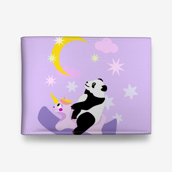 Кошелек «Панда на лошадке сиреневый фон»