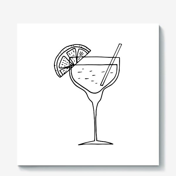 Холст «летний коктейль. напиток в бокале. бар»