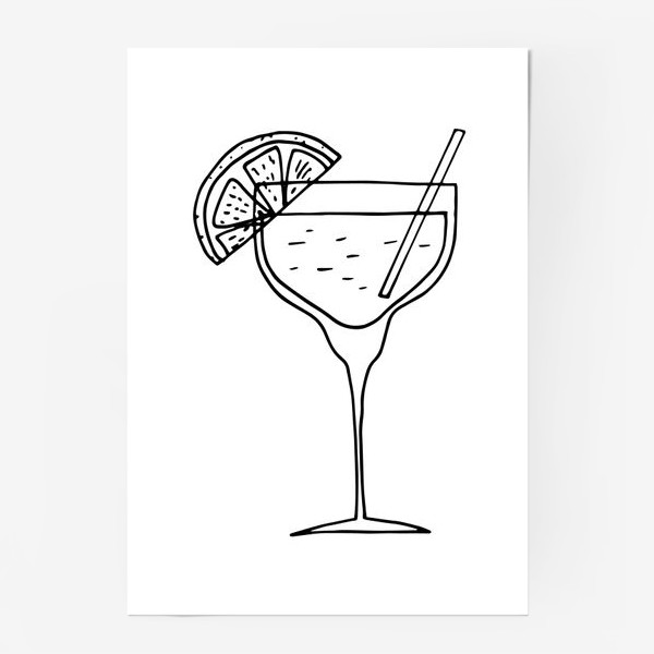 Постер «летний коктейль. напиток в бокале. бар»