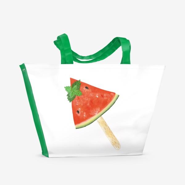 Пляжная сумка «Долька арбуза на палочке с мятой»