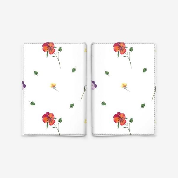 Обложка для паспорта «Летний орнамент из цветов»