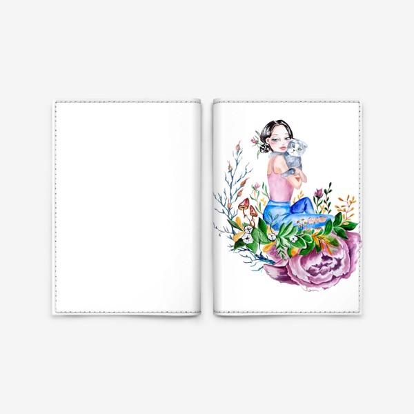 Обложка для паспорта «Девушка с котом котик, цветы »