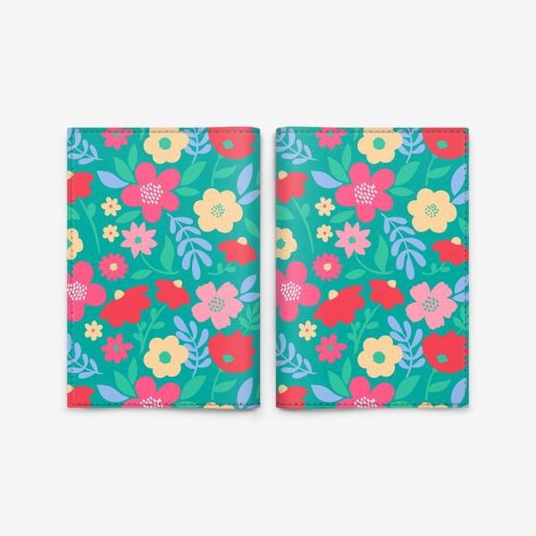 Обложка для паспорта «Пастельные цветы на бирюзовом фоне»