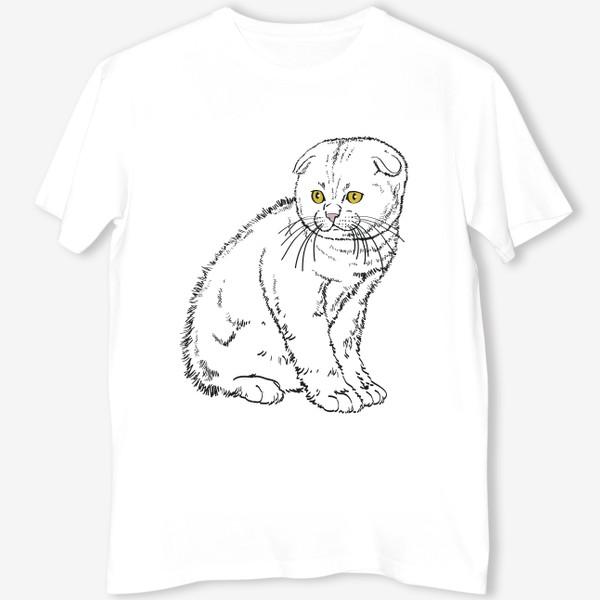 Футболка «Вислоухий котенок рисунок»
