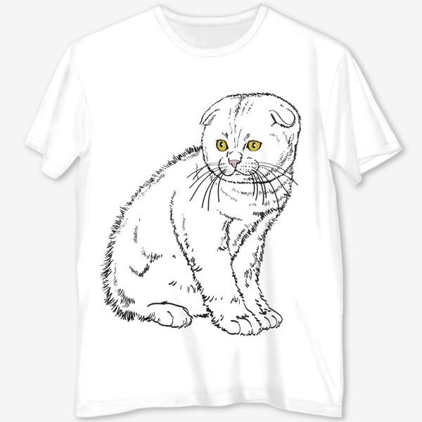 Футболка с полной запечаткой «Вислоухий котенок рисунок»