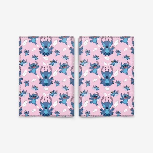 Обложка для паспорта «Стич паттерн розовый фон»